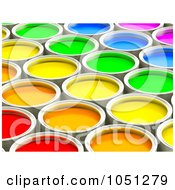 3d Colorful Paint Cans - 2