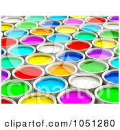 3d Colorful Paint Cans 1