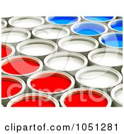 3d Red White And Blue Cans Of Paint In Rows - 1