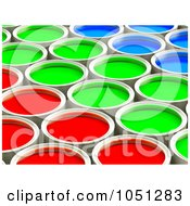3d Red Green And Blue Paint Cans In Rows 2