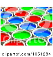 3d Red Green And Blue Paint Cans In Rows 1