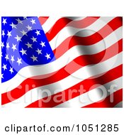 Royalty Free 3d Clip Art Illustration Of A 3d Waving American Flag Banner 1