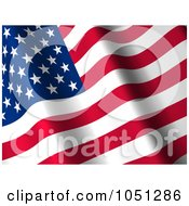 Royalty Free 3d Clip Art Illustration Of A 3d Waving American Flag Banner 2 by ShazamImages
