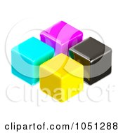 Royalty Free 3d Clip Art Illustration Of 3d CMYK Cubes by ShazamImages