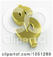 Royalty Free 3d Clip Art Illustration Of A 3d Gold Dollar Symbol 1