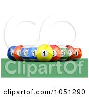 3d Billiard Pool Balls In A Rack Formation