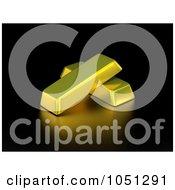 3d Gold Bars On Black
