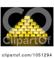 Royalty Free 3d Clip Art Illustration Of 3d Gold Bars Stacked In Pyramid Formation On Black by ShazamImages
