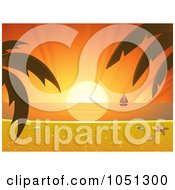Royalty Free Vector Clip Art Illustration Of A Tropical Sunset With A Beach Scene And Sailboat