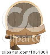 Royalty Free Vector Clip Art Illustration Of A Wooden Shield With A Black Banner