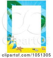 Royalty Free Vector Clip Art Illustration Of A Tropical Beach Frame Around White Space