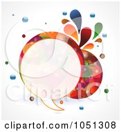 Royalty Free Vector Clip Art Illustration Of A Colourful Round Speech Bubble With Splashes And Bubbles by elaineitalia