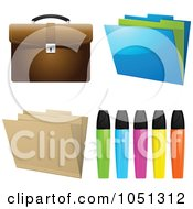 Royalty Free Vector Clip Art Illustration Of A Digital Collage Of Highlighters Folders And A Briefcase