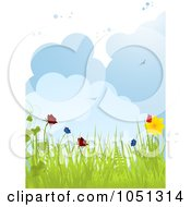 Spring Background Of Flowers Butterflies Birds And Puffy Clouds