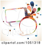 Royalty Free Vector Clip Art Illustration Of Colourful Round And Rectangular Speech Bubbles With Splashes And Bubbles by elaineitalia