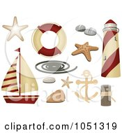 Royalty Free Vector Clip Art Illustration Of A Digital Collage Of Nautical Icons by elaineitalia