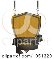 Royalty Free Vector Clip Art Illustration Of A Wooden Shield Sign With A Black Banner by elaineitalia