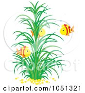 Royalty Free Vector Clip Art Illustration Of Three Fish Near An Aquatic Plant by Alex Bannykh