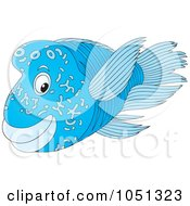 Royalty Free Vector Clip Art Illustration Of A Blue Marine Fish by Alex Bannykh