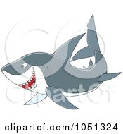 Royalty Free Vector Clip Art Illustration Of A Swimming Gray Shark by Alex Bannykh
