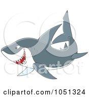 Royalty Free Vector Clip Art Illustration Of A Swimming Gray Shark by Alex Bannykh