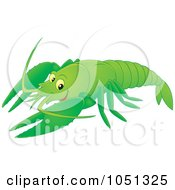 Royalty Free Vector Clip Art Illustration Of A Green Crayfish by Alex Bannykh