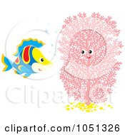 Royalty Free Vector Clip Art Illustration Of A Marine Fish And Pink Coral