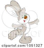 Royalty Free Vector Clip Art Illustration Of A Happy Beige Rabbit Walking