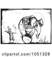 Woodcut Styled Ringmaster And An Elephant On A Ball