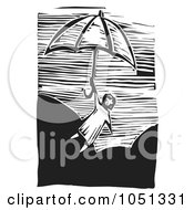 Royalty Free Vector Clip Art Illustration Of A Woodcut Styled Girl Floating Away On An Umbrella
