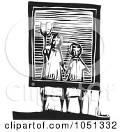 Royalty Free Vector Clip Art Illustration Of A Woodcut Styled Frame With A Farmer And Wife by xunantunich