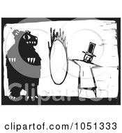 Woodcut Styled Ringmaster Instructing A Bear To Jump Through A Hoop