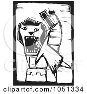 Royalty Free Vector Clip Art Illustration Of A Woodcut Styled Circus Man Sticking His Head In A Lions Mouth