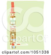 Royalty Free Vector Clip Art Illustration Of A Totem Pole Border On A Green Background by xunantunich