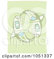 Royalty Free Vector Clip Art Illustration Of A Totem Styled Whales 1 by xunantunich