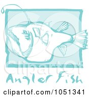 Royalty Free Vector Clip Art Illustration Of A Blue Woodcut Styled Angler Fish With Text Over Blue
