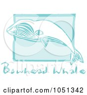 Royalty Free Vector Clip Art Illustration Of A Blue Woodcut Styled Bowhead Whale With Text Over Blue