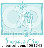 Royalty Free Vector Clip Art Illustration Of Blue Woodcut Styled Seahorses With Text Over Blue