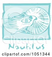 Royalty Free Vector Clip Art Illustration Of A Blue Woodcut Styled Nautilus With Text Over Blue