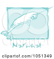 Royalty Free Vector Clip Art Illustration Of A Blue Woodcut Styled Narwhal With Text Over Blue