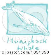 Royalty Free Vector Clip Art Illustration Of A Blue Woodcut Styled Humpback Whale With Text Over Blue by xunantunich