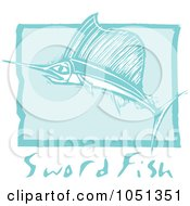 Blue Woodcut Styled Sword Fish With Text Over Blue
