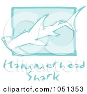 Royalty Free Vector Clip Art Illustration Of A Blue Woodcut Styled Hammerhead Shark With Text Over Blue by xunantunich
