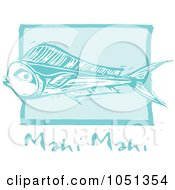 Royalty Free Vector Clip Art Illustration Of A Blue Woodcut Styled Mahi Mahi Fish With Text Over Blue by xunantunich