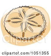 Royalty Free Vector Clip Art Illustration Of A Sand Dollar On A Beach by Andy Nortnik