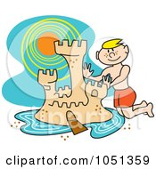 Royalty Free Vector Clip Art Illustration Of A Boy Building A Sand Castle With A Moat On The Beach by Andy Nortnik