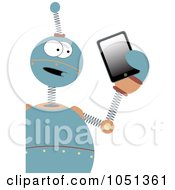 Springy Blue Robot Holding A Tablet