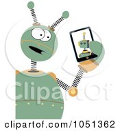 Royalty Free Vector Clip Art Illustration Of A Springy Green Robot Holding A Tablet by mheld #COLLC1051362-0107