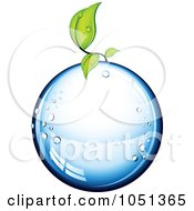 Royalty Free 3d Vector Clip Art Illustration Of A 3d Seedling Plant Growing On A Pure Water Droplet