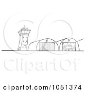 Royalty Free Vector Clip Art Illustration Of An Outline Of Airport Hangars by dero